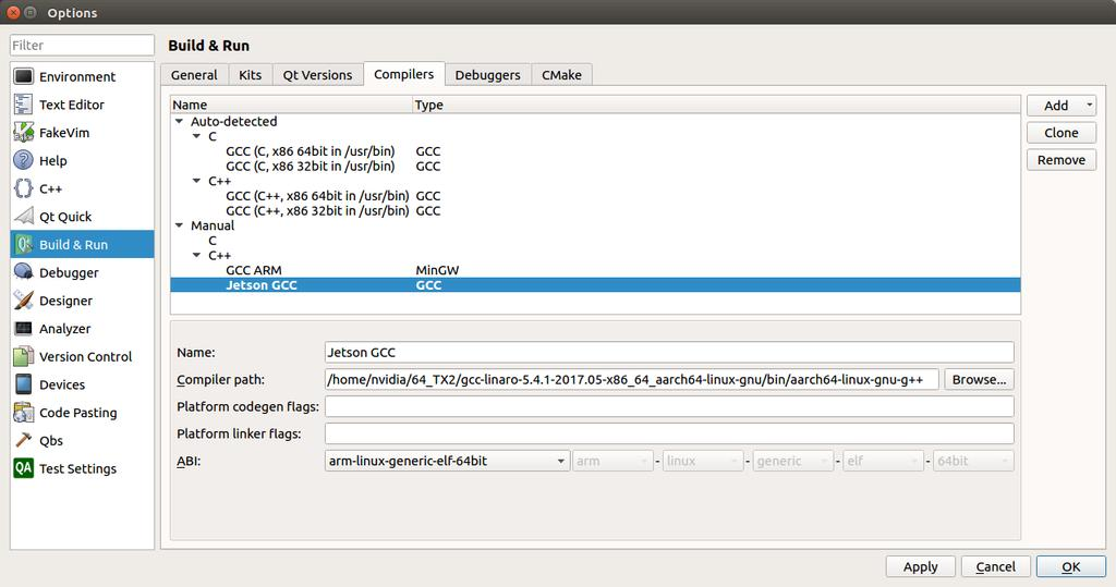 Configure Cross Compiling for Nvidia Jetson TX2 on Ubuntu 64