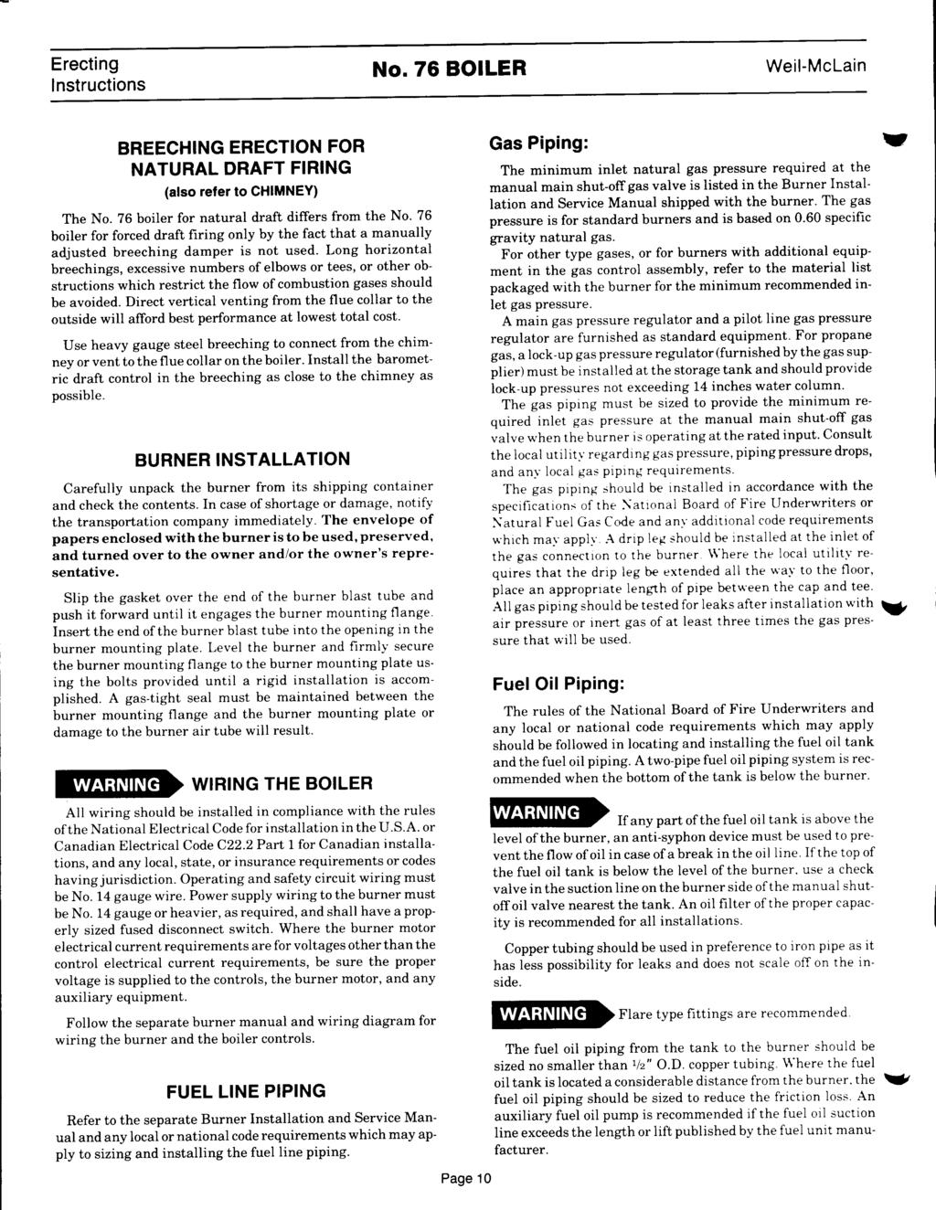 No76 Boiler Erecting Lnstructions Weil Mclain Forced Draft Columbia Oil Burner Wiring Diagram No 76 Boler Breechng Erecton For Natural Frng Also Refer To Chmney