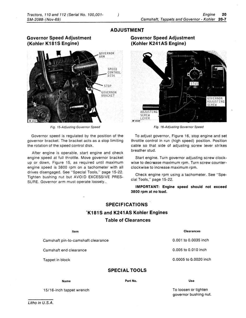 110 and 112 Lawn and Garden Tractors  Serial No  (100, ,000) SERVICE