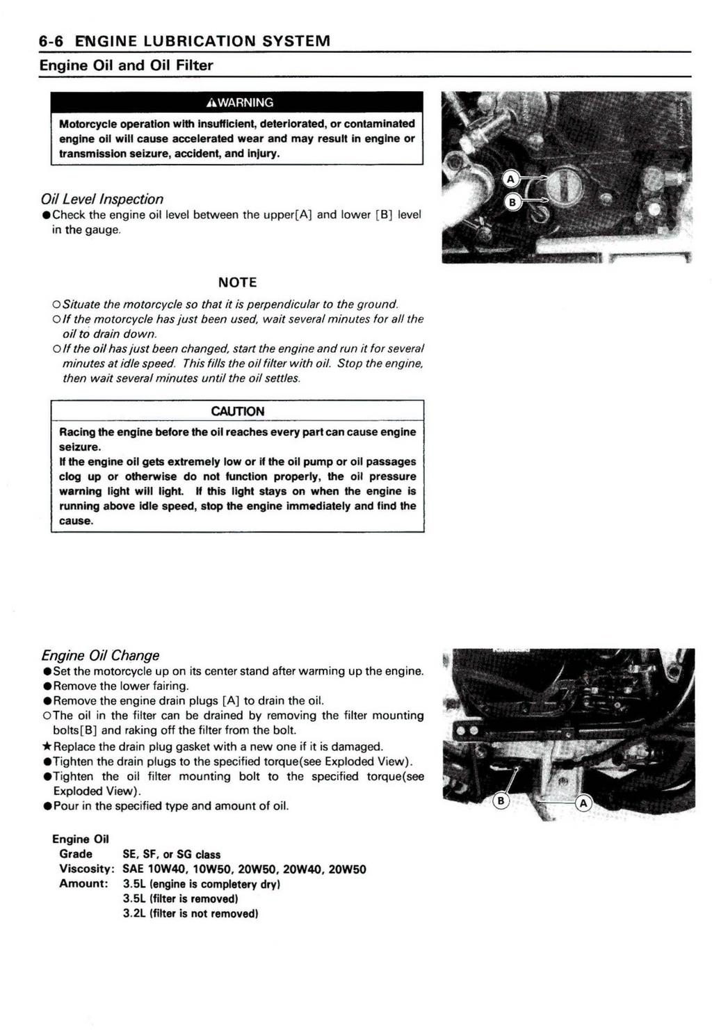 Ninja Zx 11 Zz R1100 Kawasaki Motorcycle Service Manual Pdf Pathfinder 3 5l Engine Diagram 6 Lubrication System Oil And Filter Awarning Operation With Insufficient