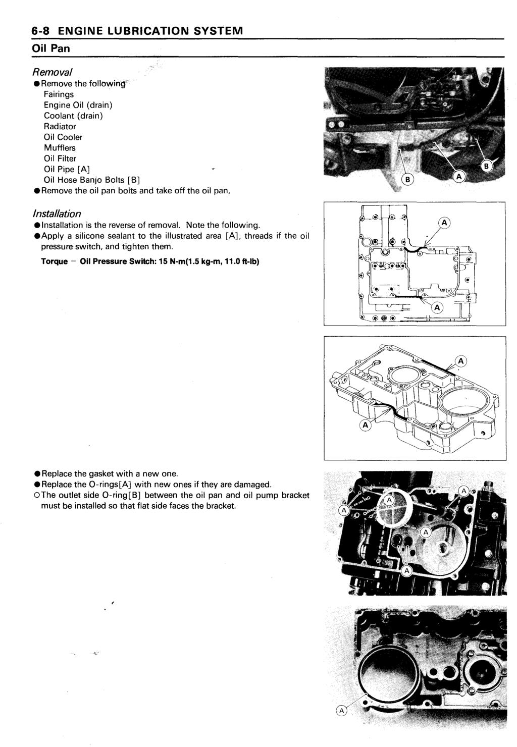 Ninja Zx 11 Zz R1100 Kawasaki Motorcycle Service Manual Pdf Zx11 Wiring Diagram 6 8 Engine Lubrication System Oil Pan Removal Remove The Fol1owin