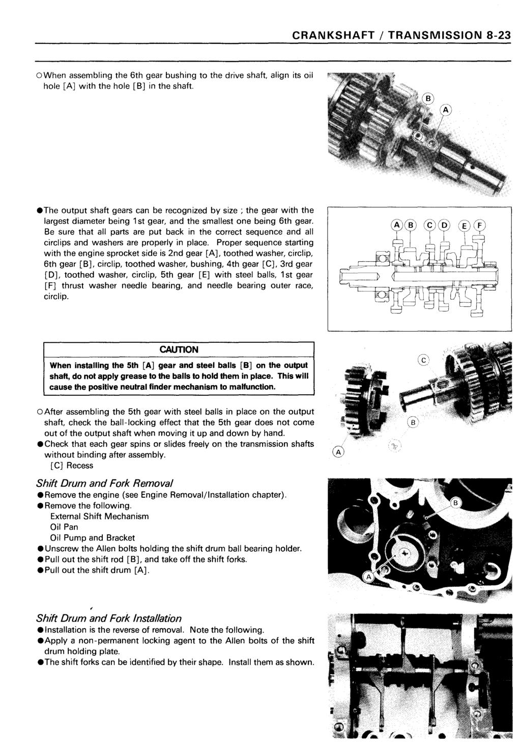 Ninja Zx 11 Zz R1100 Kawasaki Motorcycle Service Manual Pdf Zx11 Wiring Diagram Crankshaft Transmission 8 23 Owhen Assembling The 6th Gear Bushing To Drive Shaft