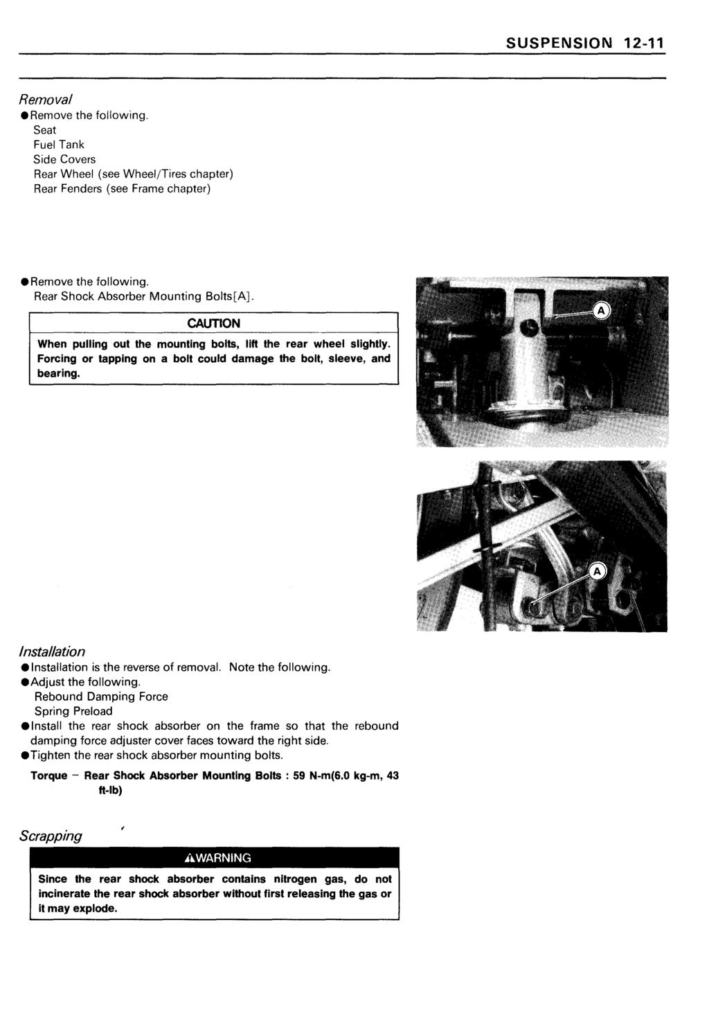 Ninja Zx 11 Zz R1100 Kawasaki Motorcycle Service Manual Pdf Zx11 Wiring Diagram Suspension 12 Removalremove The Following Seat Fuel Tank Side Covers Rear