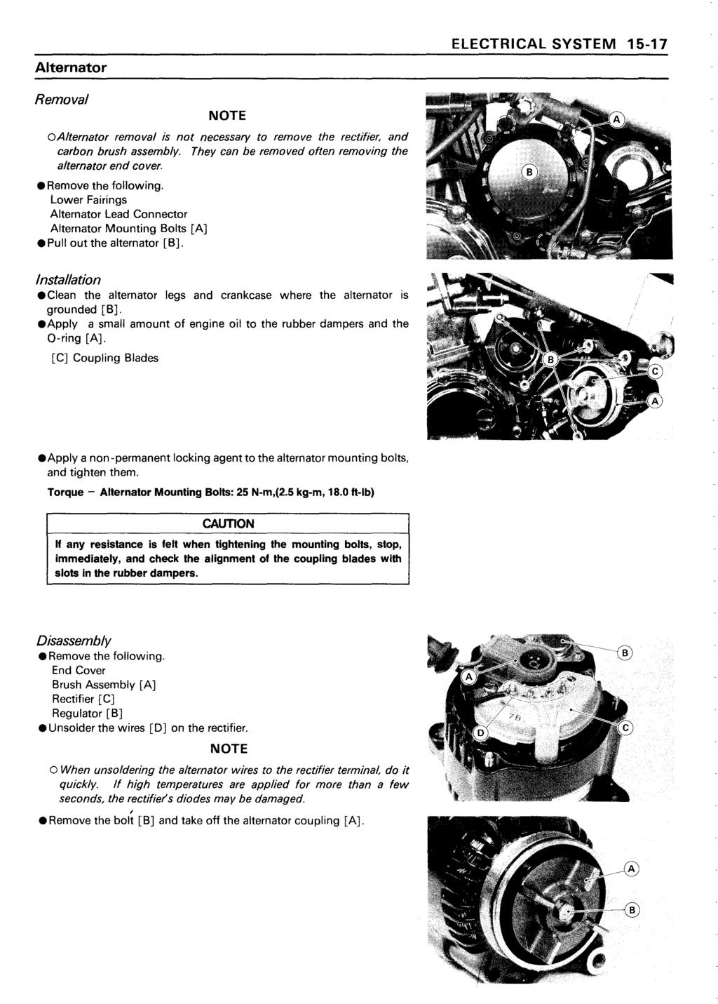 Ninja Zx 11 Zz R1100 Kawasaki Motorcycle Service Manual Pdf Zx11 Wiring Diagram Alternator Electrical System 15 17 Removal Note Oalternator Is Not Necessary To Remove The