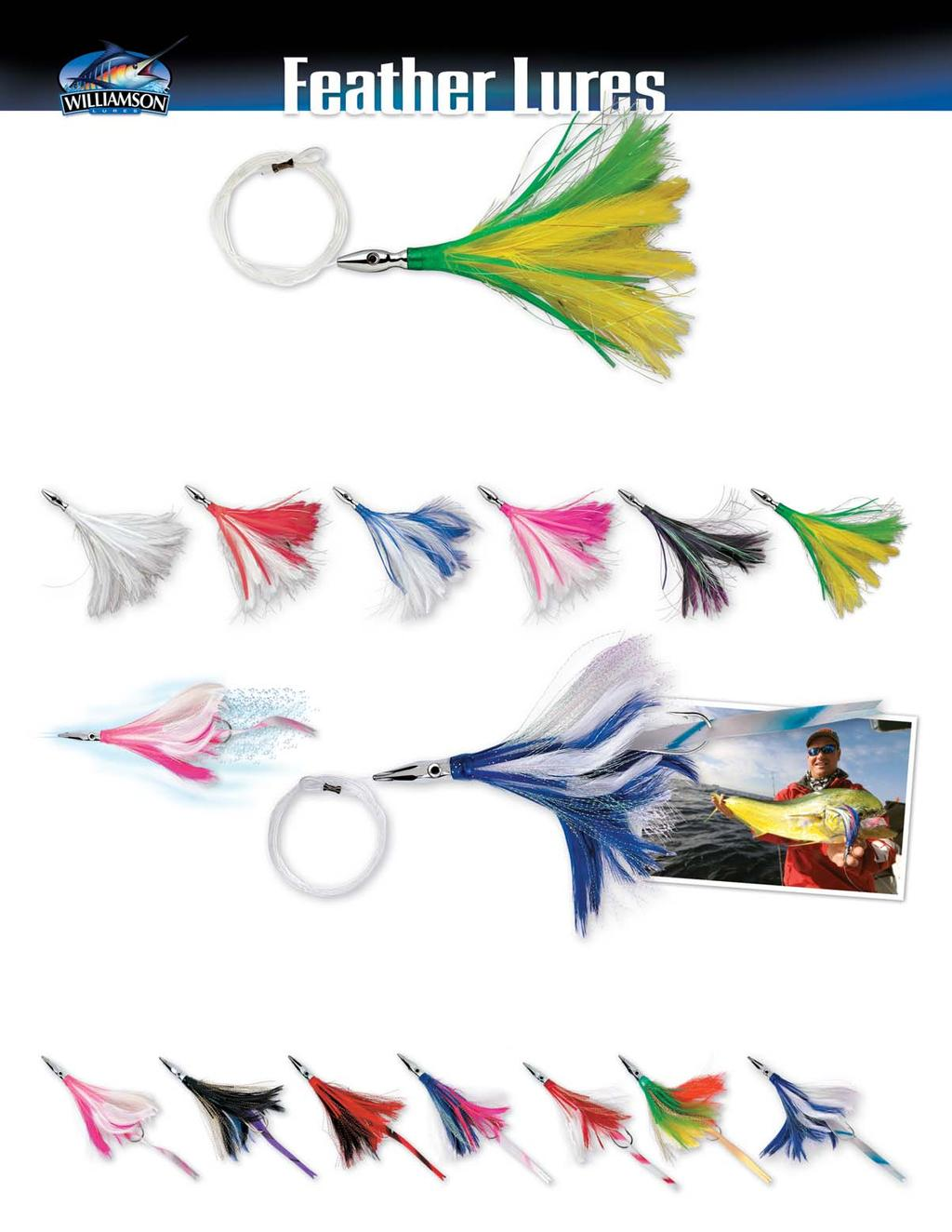WILLIAMSON PRE-RIGGED SKIRTED LIGHT TROLLING LURE FLASH FEATHER 100mm