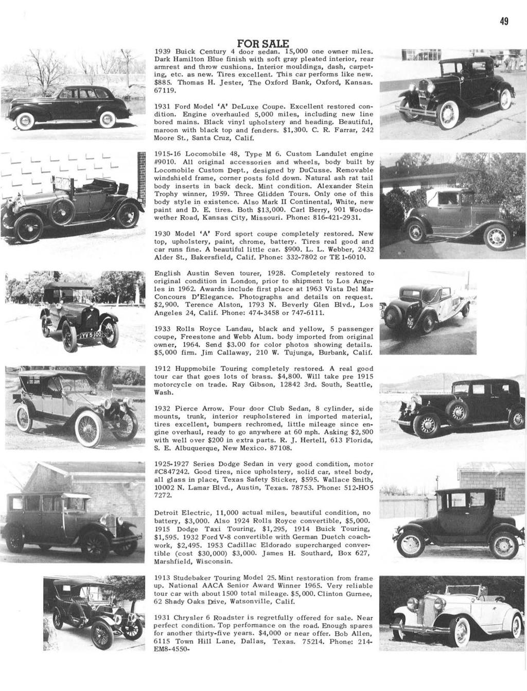 Horseless Carriage Club Of America Founded In Los Angeles November Power Top Wiring Diagram For 1942 47 Chevrolet Passenger Cars Cabriolet 49 Sale 1939 Buick Century 4 Door Sedan 15000 One Owner Miles Dark