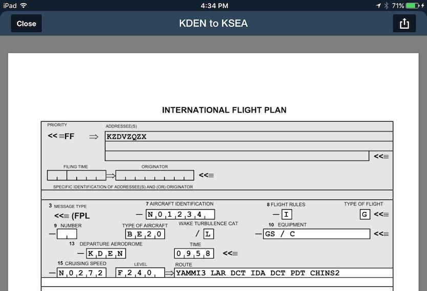 Filing ICAO with FOREFLIGHT MOBILE - PDF