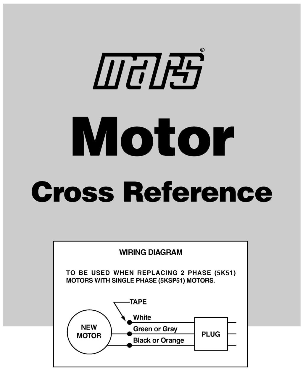 Mars Motor Cross Reference Information Pdf 2000 Vw Passat 1 8 Vacuum Hose Diagram Light Switch Wiring