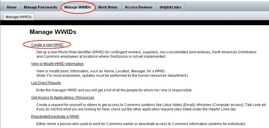 WWIMS User Instructions for Create New WWID, Provisioning or