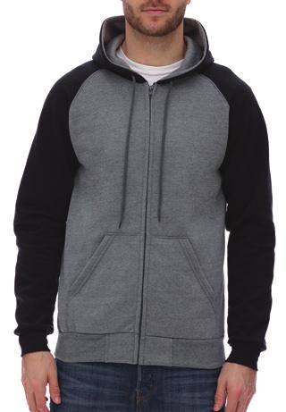 SWEATSHIRTS KF4048 Raglan Hooded fleece with full zip 55% ring-spun cotton 9ada558ebbf16