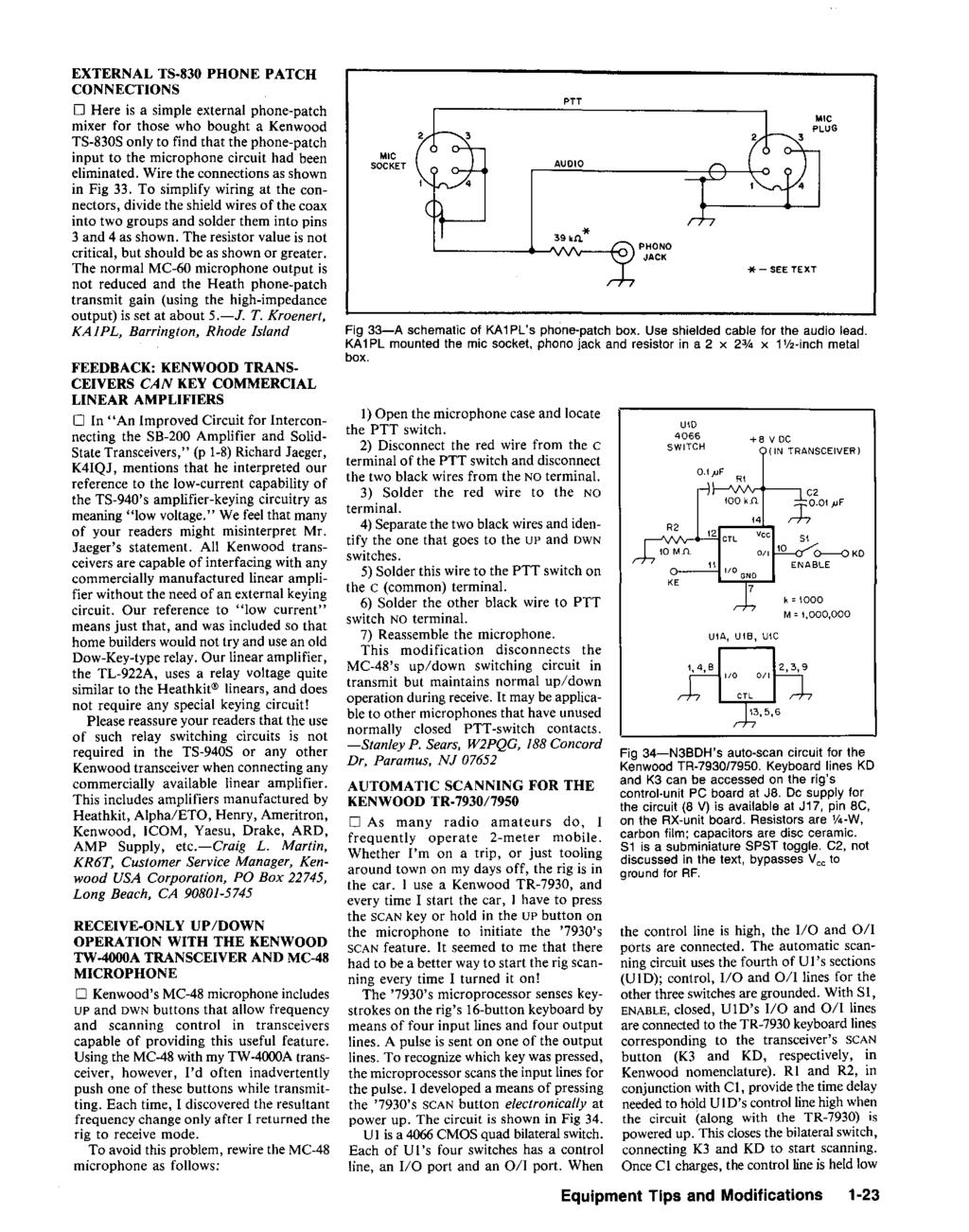 Hints And Kinks For The Radio Amateur Pdf Simple Mic Circuit External Ts 830 Phone Patch Connectons O Here Is A