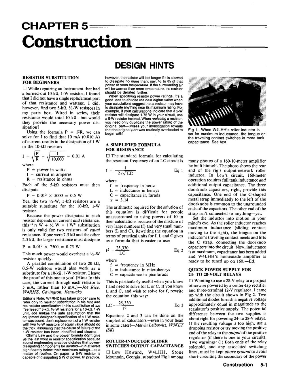 Hints And Kinks For The Radio Amateur Pdf Single Transistor Amplifier Revisited Part 4 Av Amp Rin Vs Vce Chapter5 Construction Desgn