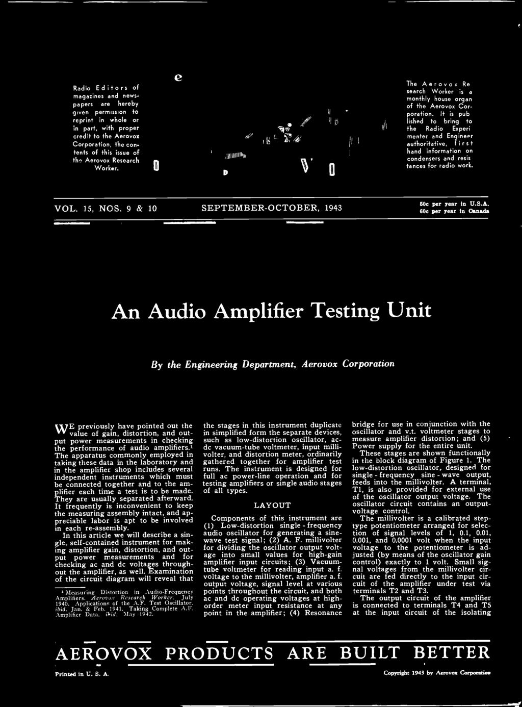 An Audio Amplifier Testing Unit The Stages In This Instrument Distortion Meter It Is Published To Bring He Radio Experimenter And Engineer Authoritative Firs Hand