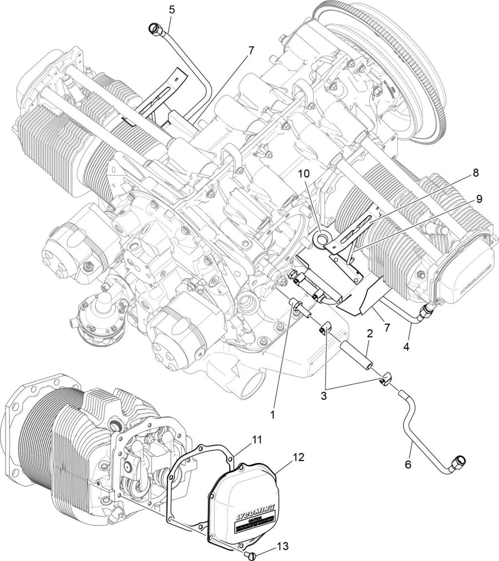 io 360 n1a engine illustrated parts catalog pdf Jeep Engine Diagram figure 13 cylinder head drain tubes intercylinder cooling baffles and rocker box covers 72