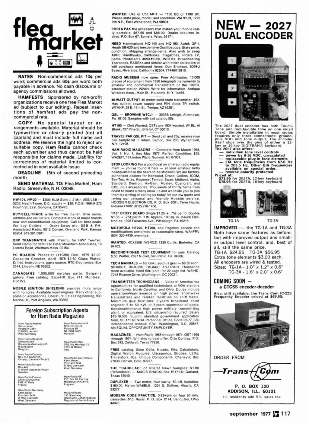Radio September 1977 Frequency Synthesizer 44 Pi Network Design Pin Diagram Of Ic 741 Polytechnic Hub Flea Market Rates Non Commercial Ads 10c Per Word 60c