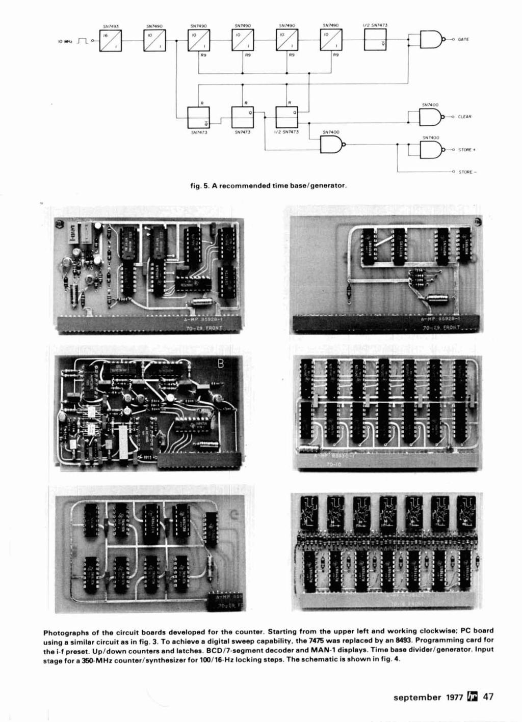 Radio September 1977 Frequency Synthesizer 44 Pi Network Design Adjustable Timer Circuit With 555 Ic P Marian Timers A Recommended Time Baselgenerator Photographs Of