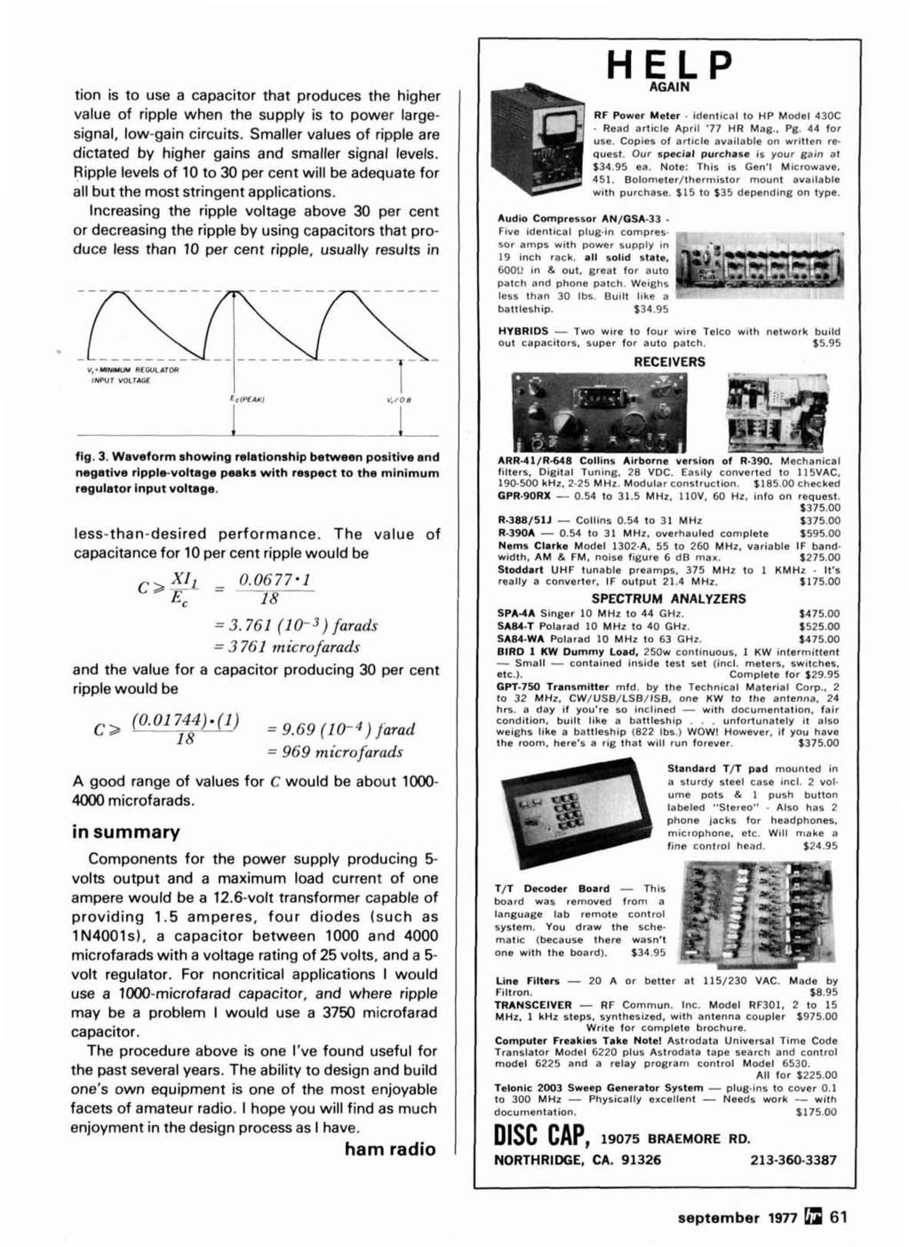 Radio September 1977 Frequency Synthesizer 44 Pi Network Design Meters Scanners Circuit Breaker Finders Sperry Finder Tion Is To Use A Capacitor That Produces The Higher Value Of Ripple When Supply