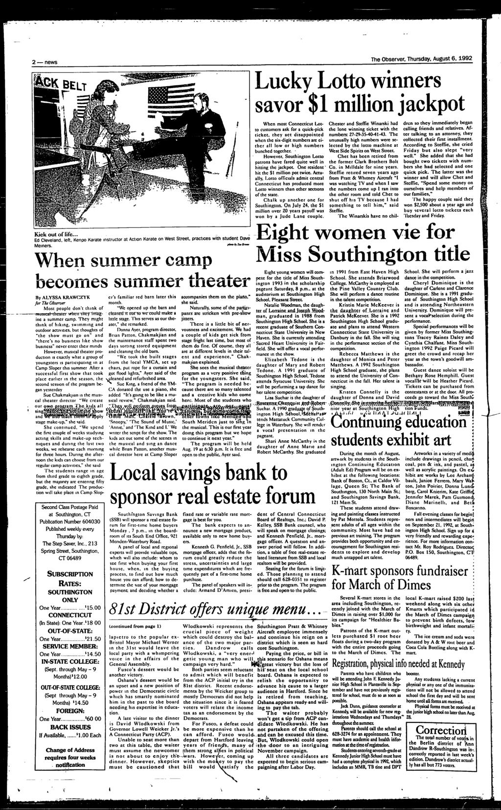 Southington, Connecticut August 6, pages, one section