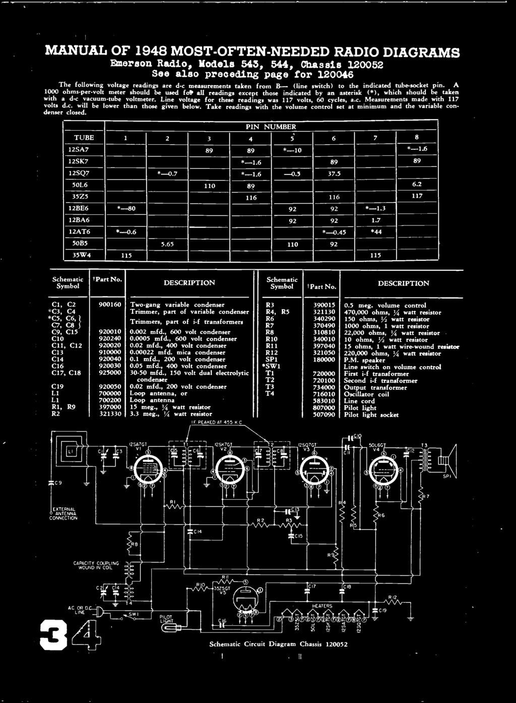 Radio Diagrams Most Often Needed And Servicing Information 200 Volume Potentiometer Wiring Diagram On A Receptacle From 1 Ohms Per Volt Meter Should Be Used Foto All Readings Except Those 38 Manual
