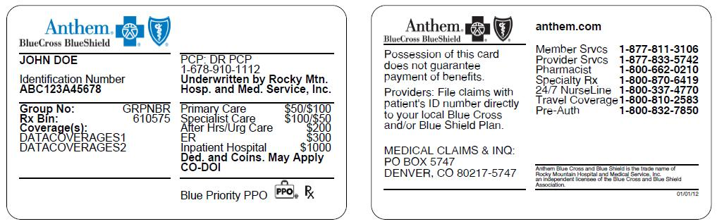 Anthem Blue Cross Blue Shield Insurance Card | aesthetic name