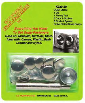 """C.S Osborne Snap-Fasterner Kit With 5//8/"""" Snaps #K229-24 Made In USA"""