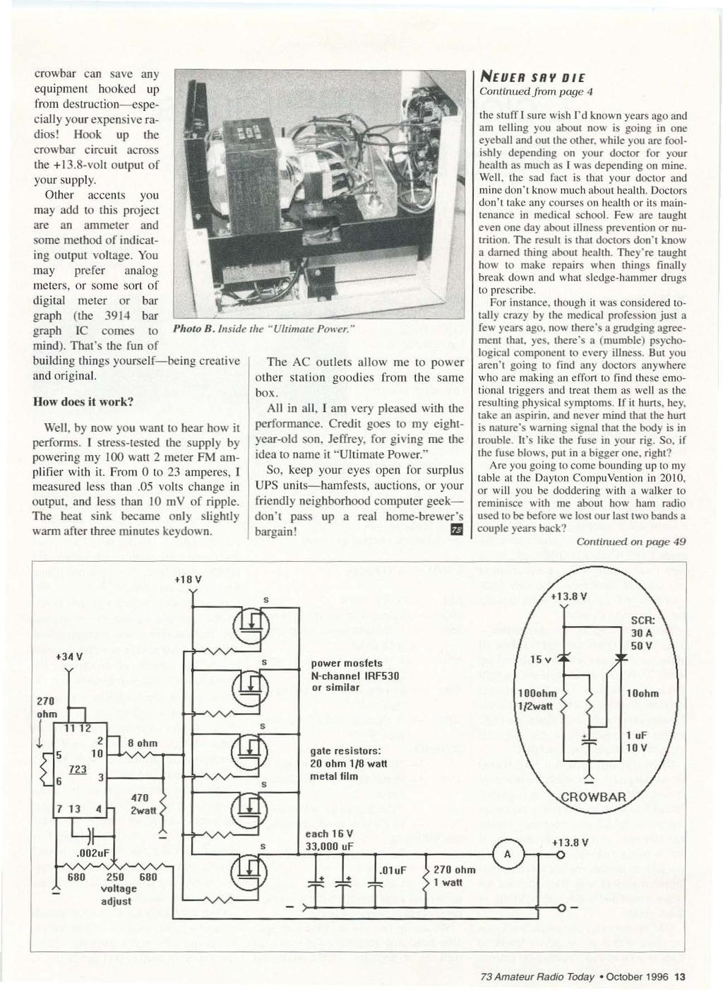 Qrp Low Power Fun Including Ham Radio October 1996 Issue 433 Circuit Trainer For Professionals Logic Gate Trainerii Crowbar Can Save An Y Equipment Hooked Up From Destruction Especially Your E Xpens Ive