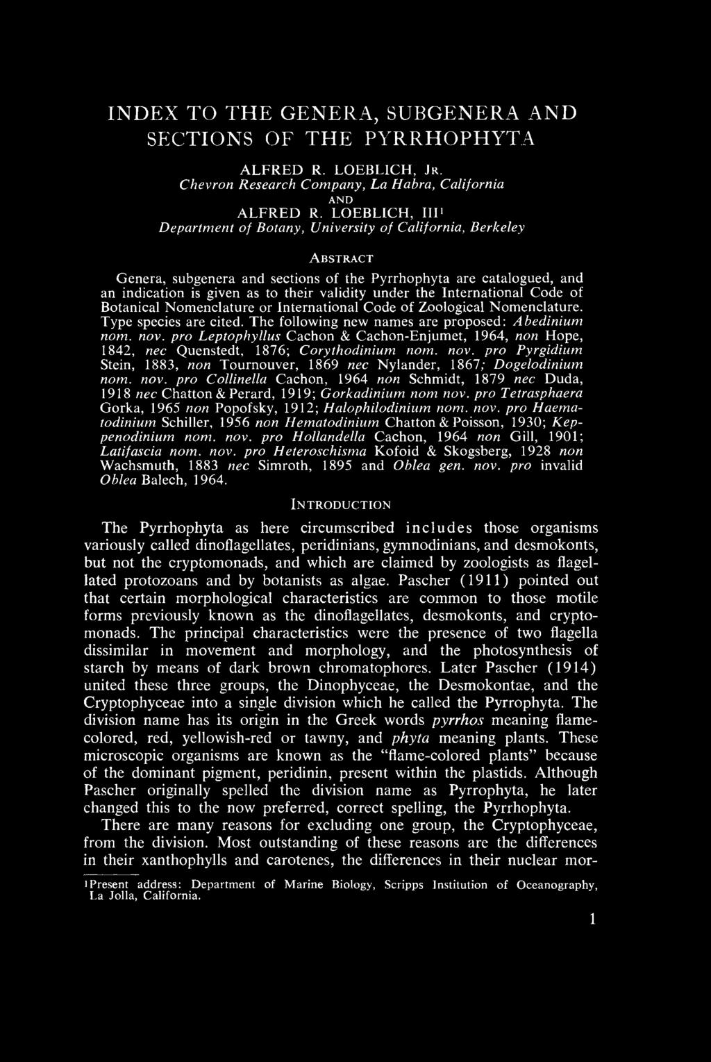 Index to the Genera, Subgenera, and Sections of the Pyrrhophyta - PDF