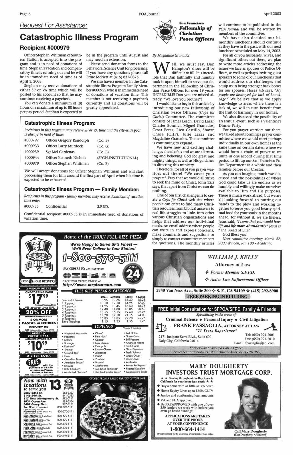 Sfpd Is Not In Crisis Pdf Opgir Chevy El Camino 1967 Dash Wiring Harness Page 6 Poa Journal April 2003 Request For Assistance Catastrophic Llness Program Recipient 000979