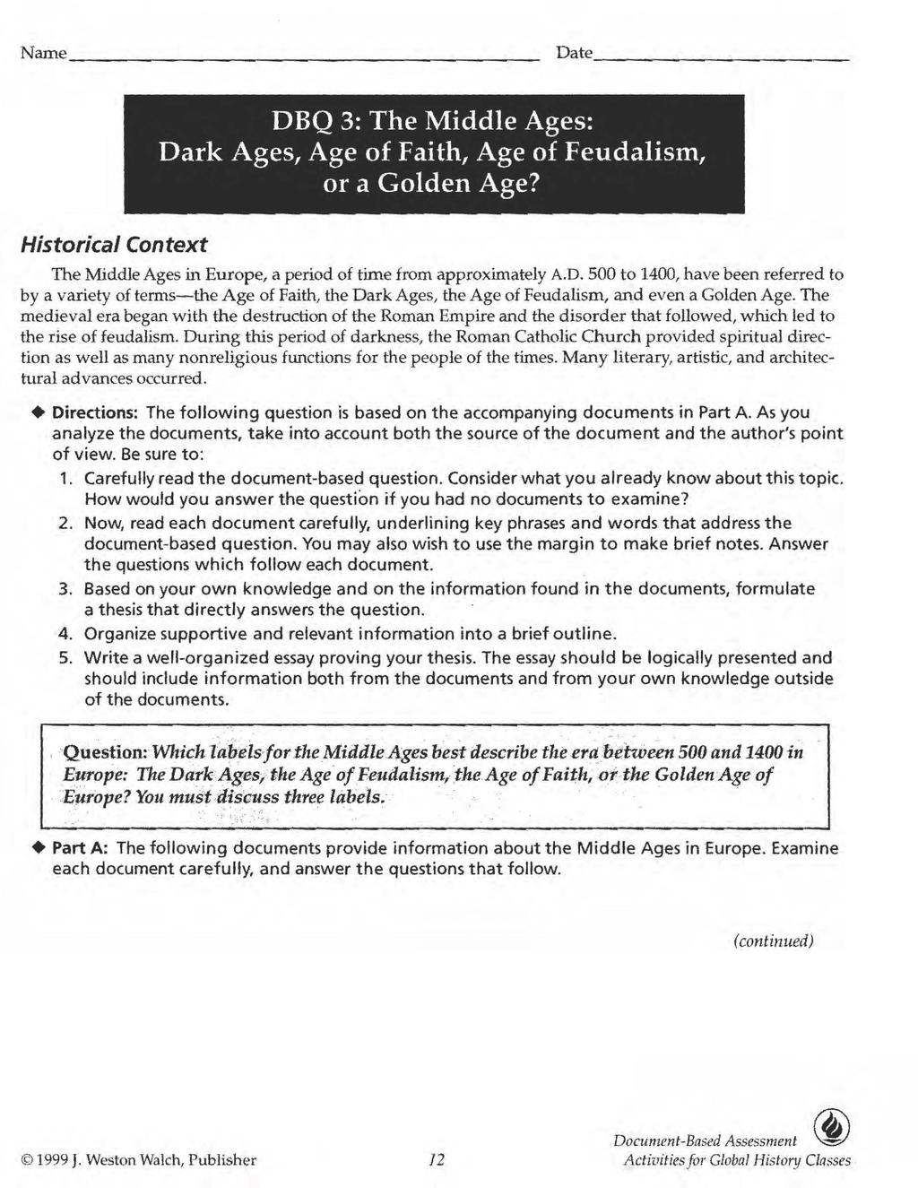 DBQ 3: The Middle Ages: Dark Ages, Age of Faith, Age of Feudalism ...