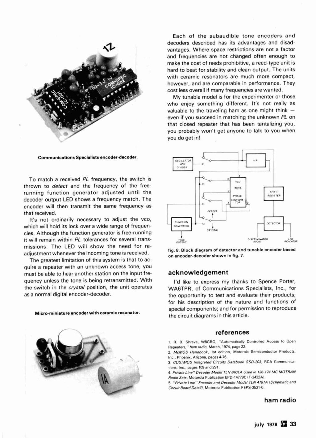 Radio Ham Magazine July 1978 J Antenna 74 Variable Power Supply 36 Lm1800 Fm Stereo Demodulator Circuit Diagram Each Of The Subaudible Tone Encoders And Decoders Described Has Its Advantages Disadvantages