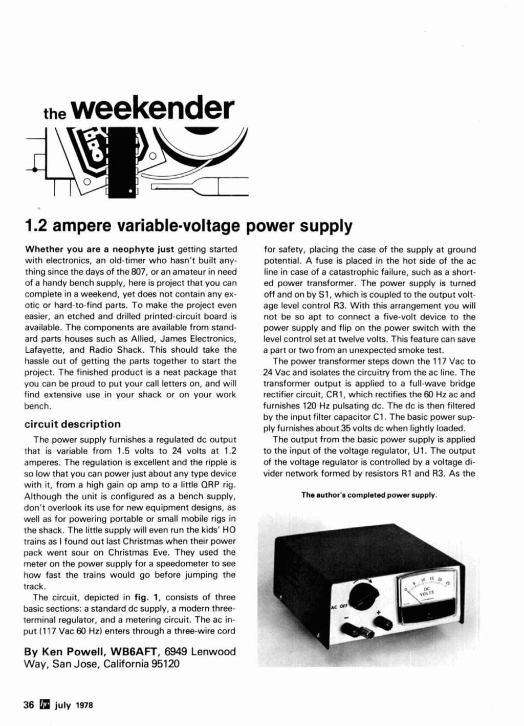 Radio Ham Magazine July 1978 J Antenna 74 Variable Power Supply 36 Kv High Voltage Dc With Neat Trick For Switching Polarity The Weekender 1 38 12 Ampere