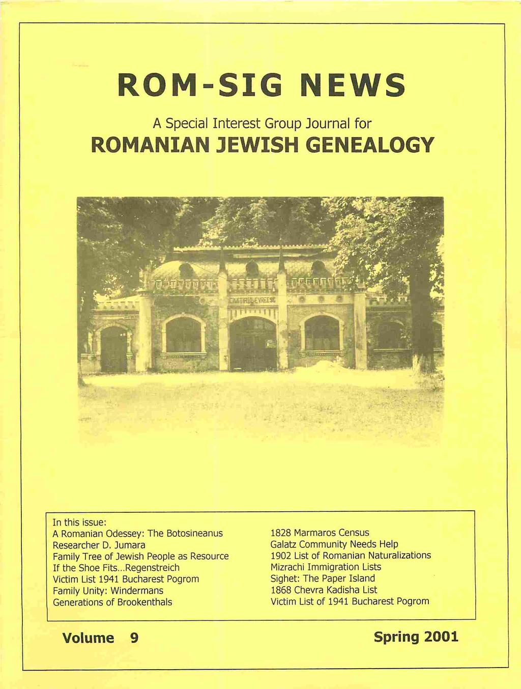 ROM-SIG NEWS ROMANIAN JEWISH GENEALOGY  A Special Interest Group