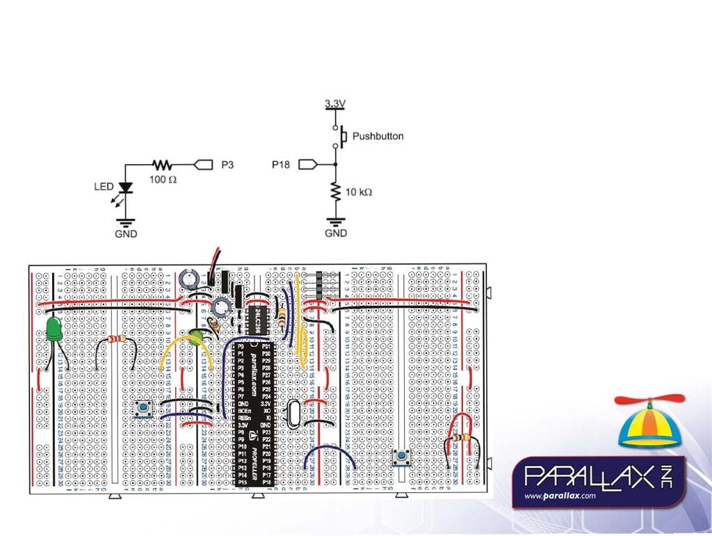 Propeller Microcontroller And The Education Kit Pdf Parallax Converter Wiring Diagram Pe Platform Testing Test Circuits 1 Pushbutton Led Gnd