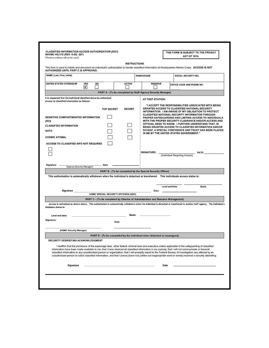 DEPARTMENT OF THE NAVY HEADQUARTERS UNITED STATES MARINE CORPS Pertaining To Dd Form 2501 Courier Authorization Card Template