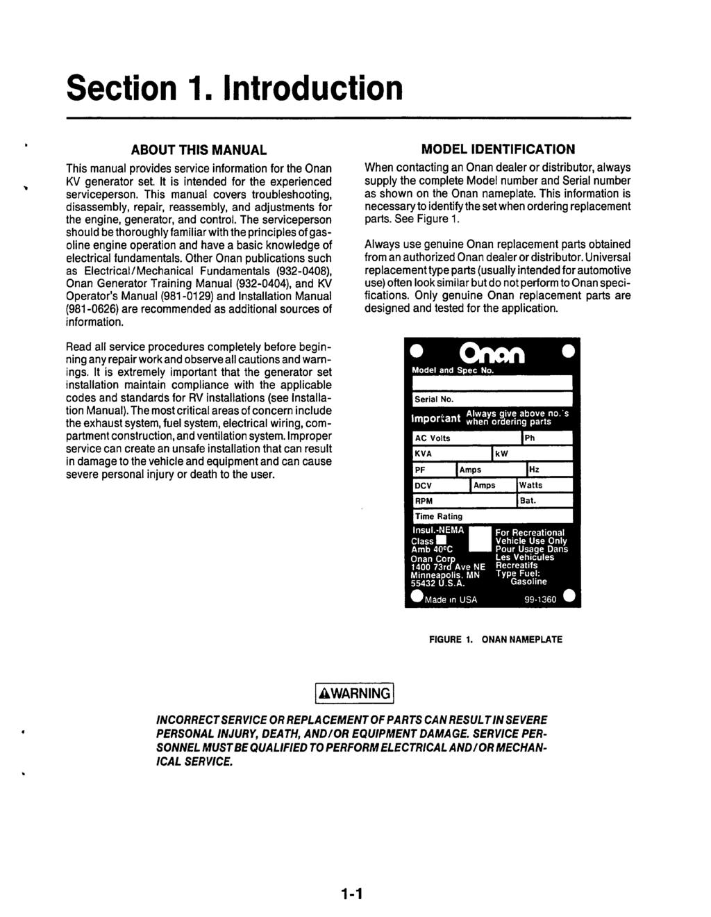 Microlite 2800 Series Pdf Onan 6 5 Rv Generator Control Wiring Diagram Section 1 Ntroduction About Ths Manual This Provides Service Information For The Kv