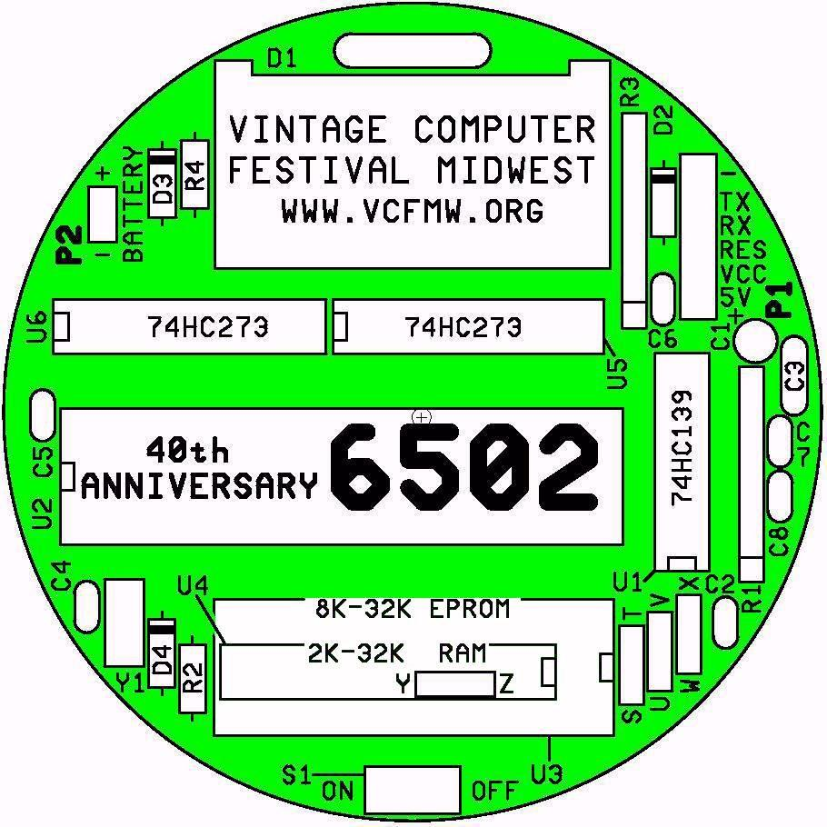 A 6502 BADGE  for the 2017 Vintage Computer Festival Midwest