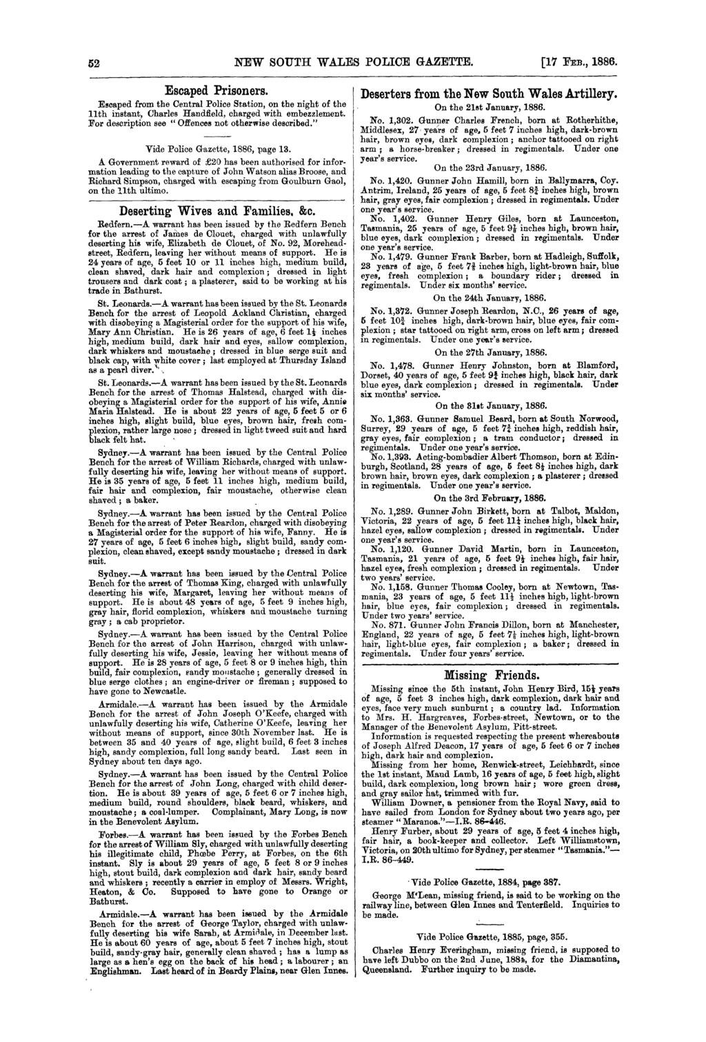 New South Wales Police Gazette Pdf Designed By John Broskie Made In Usa 52 17 Fm 1886 Escaped Prisoners
