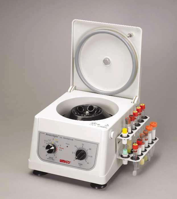 30 minutes Timer 6 x 10 mL or 3 x 15 mL Capacity Exel Corporation 6 Place Rotor 3400 rpm Fixed Speed UNICO C806 Power spin Model FX Centrifuge