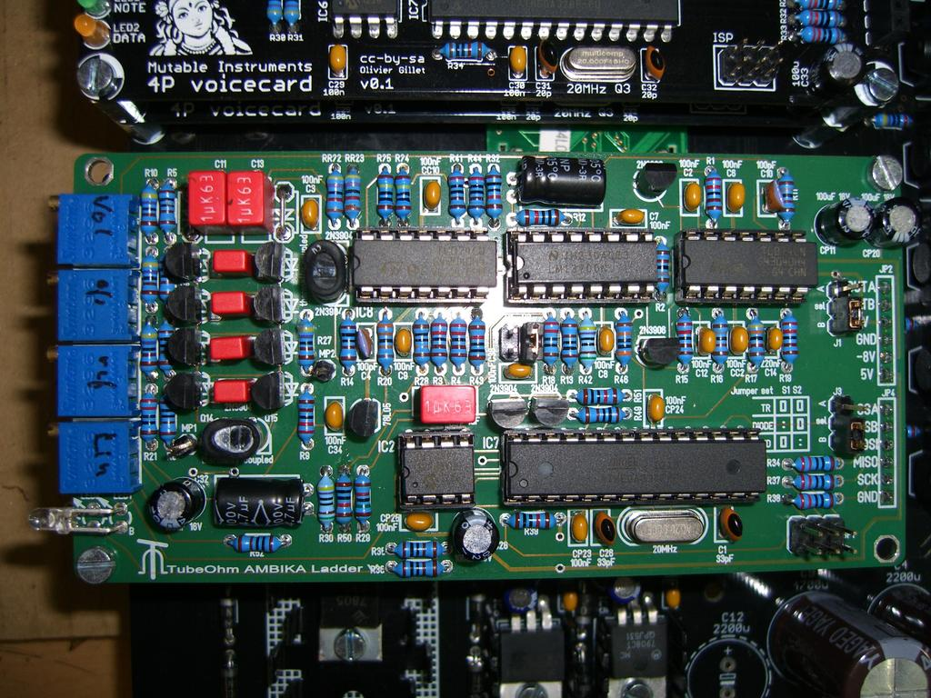 Tubeohm Ladder Filter For Ambika From Mutable Instruments Diy Class D Amplifier Circuit Lm1036 Tone Controlled Irs2092 The Board Should Now Look Like This Adjusting Dont Panic Its