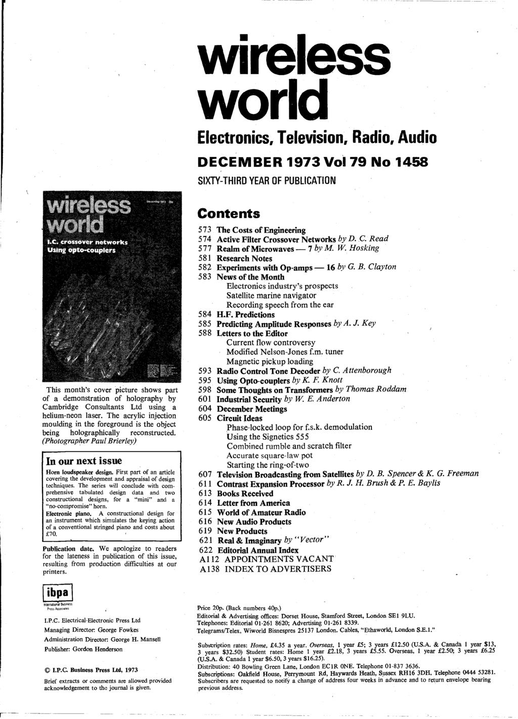 Word Ic Crossover Networks Using Opto Couplers December P Pdf Universal Multiflex Frigidaire Electric Dryer Wiring Diagram Parts Wireless World Electronics Television Radio Audio 1973 Vol 79 No 1458 Sixty