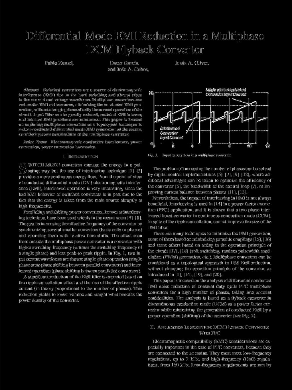 Differential Mode Emi Reduction In A Multiphase Dcm Flyback Converter Interleaved Operation For High Frequency Ripple Pablo Zumel Osear Garca