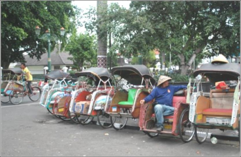 the trader on top of the stack or a group of six youths and their guitars. In Sumatra, there are (motorized) becak where the passengers are seated next to the driver, such as in The Philippines.