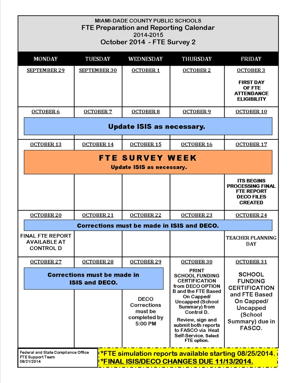 FTE ATTENDANCE ELIGIBILITY 11 DAY WINDOW PERIOD A student is eligible for  FTE funding if the