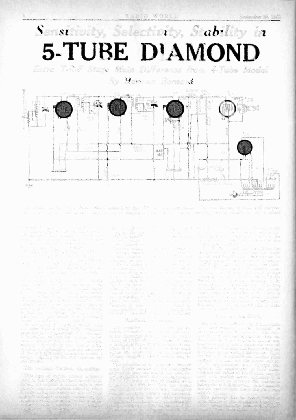 5 Tube A C Diamond Pdf Radio Likewise Aircraft Receiver Circuits On Schematic World September 24 1932 Sensitivity Selectivity Stability In