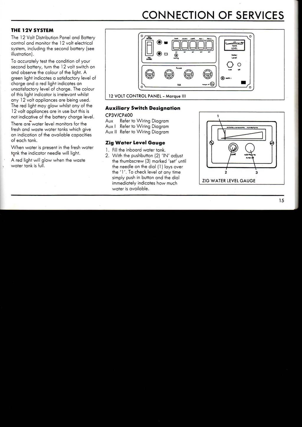 Motorhome Owners Handbook A Useful Website For And Caravan Zig Wiring Diagram Connection Of Services The 12v System 1 2 Volt Distribution Panel Battery Control