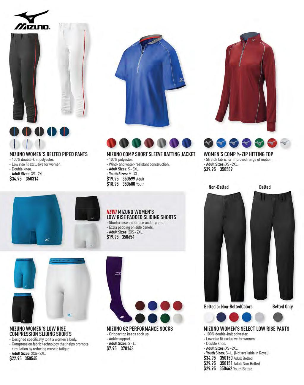 95f141aaef6   I ft ft I MIZUNO WOMEN S BELTED PIPED PANTS 100% double-knit polyester