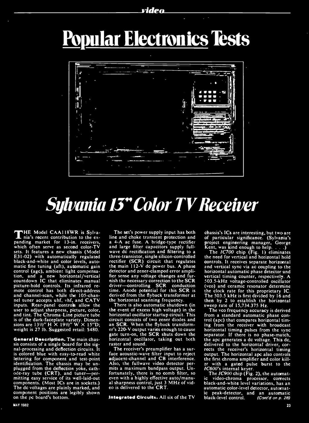 Coniesg Worlds Largest Selling Electronics Magazine May 1982 1 Pdf Electrical Circuit Boardselectrical Boards Video Slot Pcb And Catv Inputs Rear Panel Controls Allow The User To Adjust Sharpness Picture