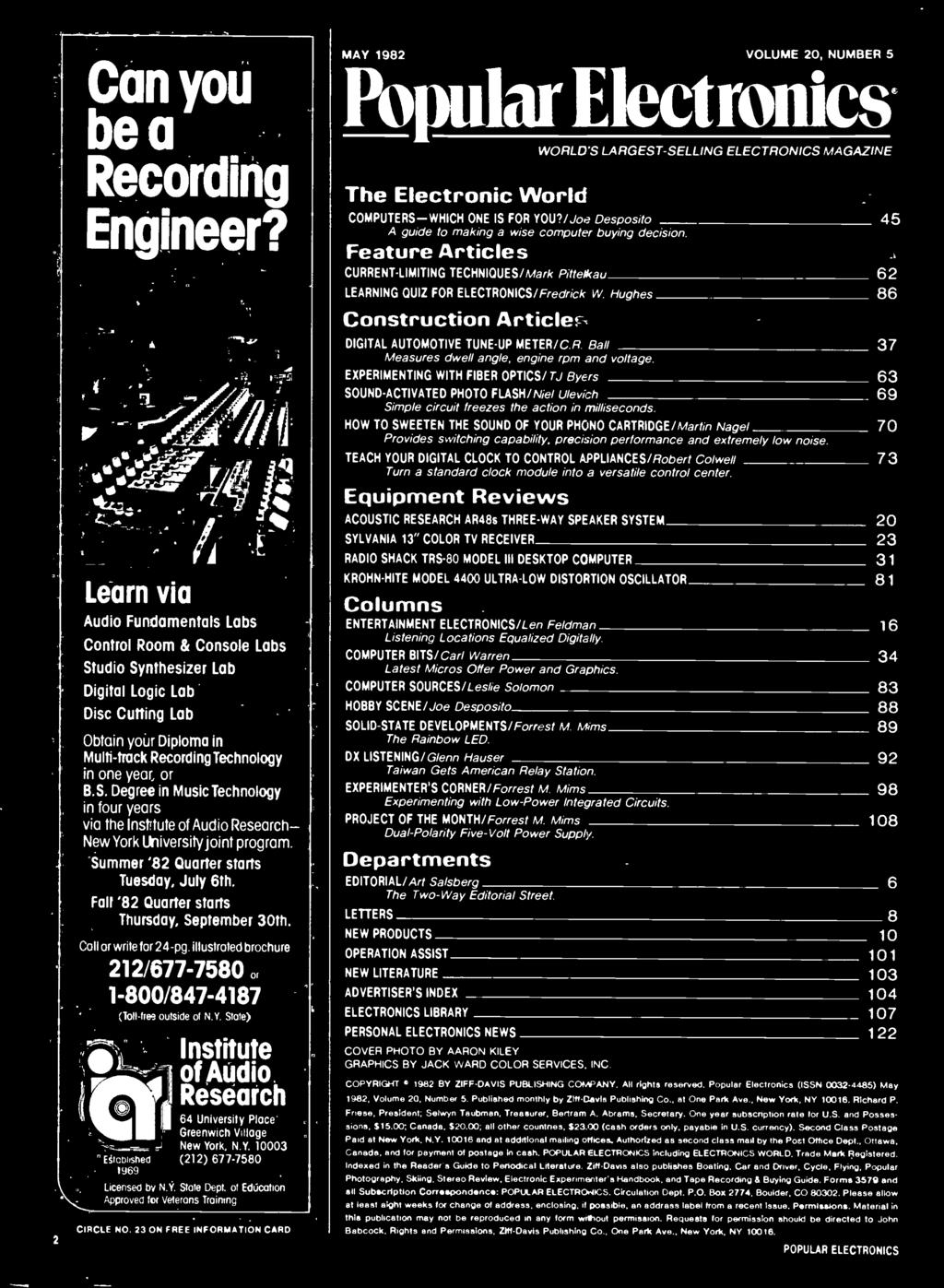 Coniesg Worlds Largest Selling Electronics Magazine May 1982 1 Pdf Generator Schematic Beck Mag Ic Pulser Emp Pulse Volume 20 Number 5 Popular The Electronic