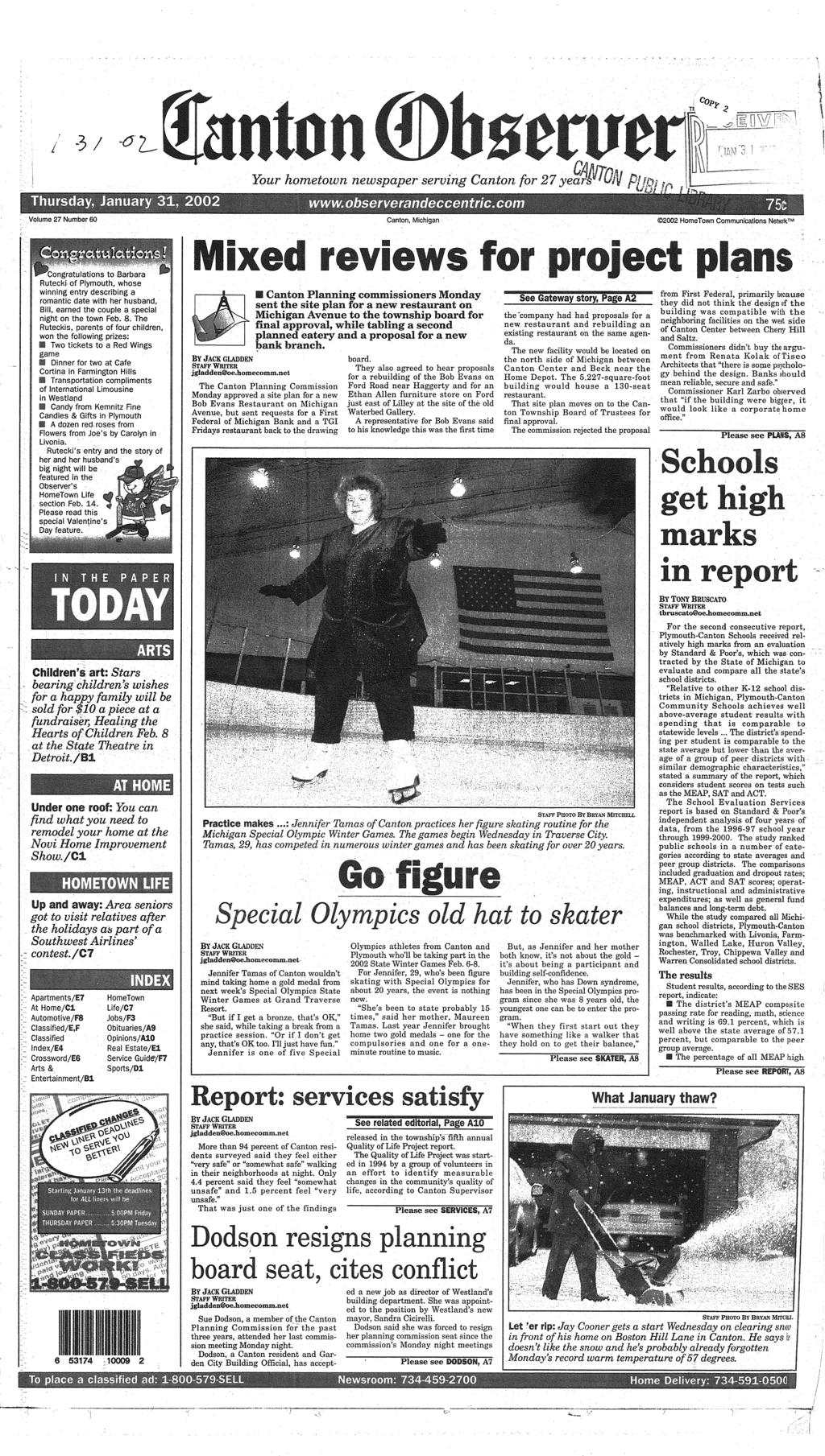 3/ ^ Thursday, January 31. 2002 Your hometown newspaper serving Canton for