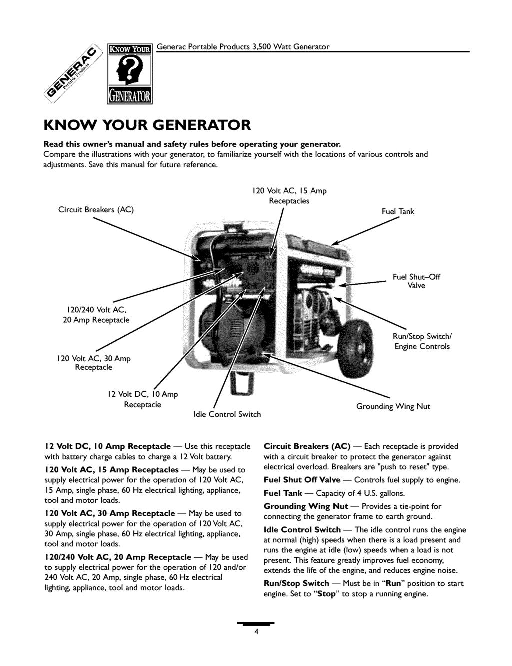 Portable Generator Owners Manual Pdf 240 110 Volt Ac Wiring Diagram Generacportableproducts 3500wattgenerator Know Your Read This And Safety Rules Before Operating